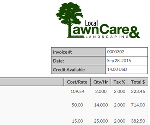 scapersoft - best lawn care management software, Invoice templates